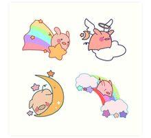 Four Rainbow Moon Pigs Art Print
