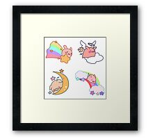 Four Rainbow Moon Pigs Framed Print