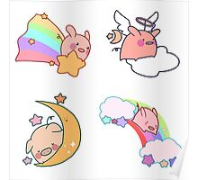 Four Rainbow Moon Pigs Poster
