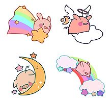 Four Rainbow Moon Pigs Photographic Print