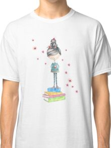 Bookish Girl in Watercolor Classic T-Shirt