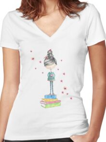 Bookish Girl in Watercolor Women's Fitted V-Neck T-Shirt