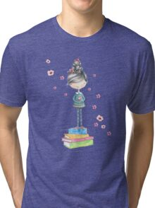 Bookish Girl in Watercolor Tri-blend T-Shirt