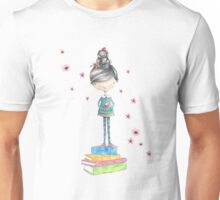 Bookish Girl in Watercolor Unisex T-Shirt