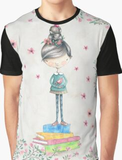 Bookish Girl in Watercolor Graphic T-Shirt