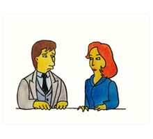 Simpsons Style Mulder and Scully - X Files Art Print
