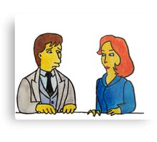 Simpsons Style Mulder and Scully - X Files Metal Print