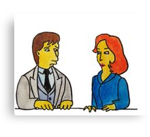 Simpsons Style Mulder and Scully - X Files Canvas Print