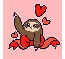 Ribbon Heart Sloth Photographic Print