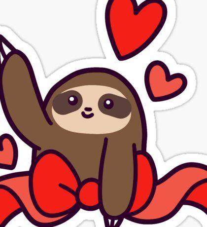 Ribbon Heart Sloth Sticker