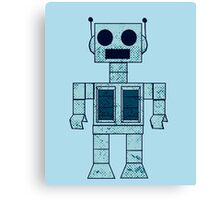 Retro Blue Robot Canvas Print