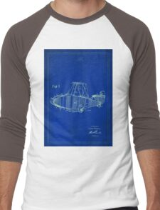 Patent Image - Airplane - Blue Poster Men's Baseball ¾ T-Shirt