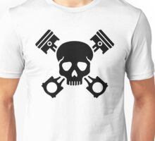 Crossed pistons skull Unisex T-Shirt