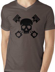 Crossed pistons skull Mens V-Neck T-Shirt