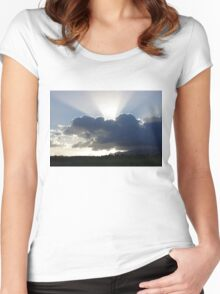 Crocodile Clouds, Sunrays and Mt.Bartle Frere, FNQ. Women's Fitted Scoop T-Shirt