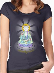 Serenity Meow Buddha Cat Women's Fitted Scoop T-Shirt
