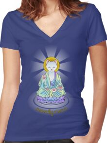 Serenity Meow Buddha Cat Women's Fitted V-Neck T-Shirt