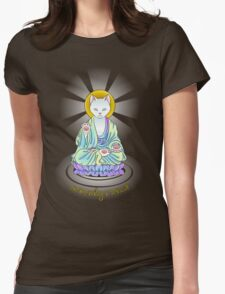 Serenity Meow Buddha Cat Womens Fitted T-Shirt