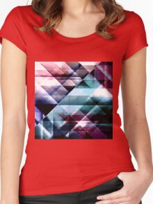 Burgundy Teal and Blue Abstract Geometric Pattern Women's Fitted Scoop T-Shirt