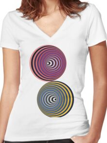 Vasarely Orbs Women's Fitted V-Neck T-Shirt