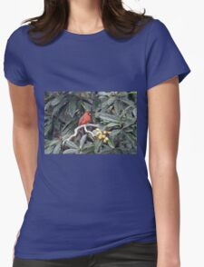 Cardinal in a Fruit Tree Womens Fitted T-Shirt