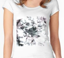 Modern Black and White Diamond Abstract Geometric Women's Fitted Scoop T-Shirt