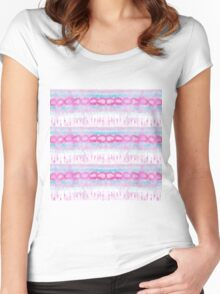 Bohemian Pink and Blue Abstract Tie Dye Pattern Women's Fitted Scoop T-Shirt