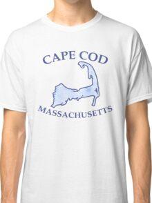 Preppy Vintage Blue Cape Cod Massachusetts Map  Classic T-Shirt