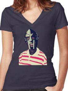 Meentre MF Doom Mask Vector Women's Fitted V-Neck T-Shirt