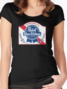 Pabst Blue Ribbon Beer Logo Women's Fitted Scoop T-Shirt