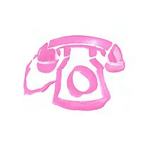 pink phone in paint Photographic Print