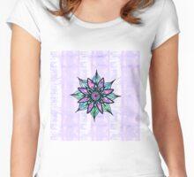 Hand Drawn Watercolor Flower on Purple Tie Dye Women's Fitted Scoop T-Shirt