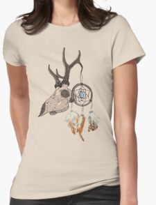 Animal Skull with dreamcatcher  Womens Fitted T-Shirt