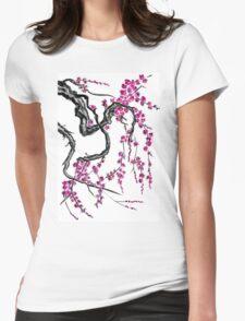 Pink flowers of sakura Womens Fitted T-Shirt