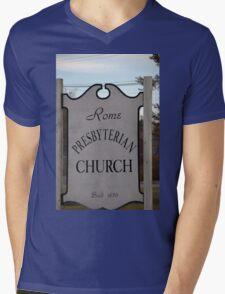 Church Sign, Holmes County, Ohio. Mens V-Neck T-Shirt