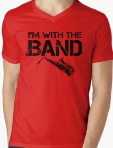 I'm With The Band - Saxophone (Black Lettering) Mens V-Neck T-Shirt