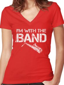 I'm With The Band - Saxophone (White Lettering) Women's Fitted V-Neck T-Shirt