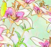 Pink And White Lilies - Digital Watercolor  Sticker