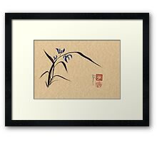 'Morning Orchids'  Sumi-e ink wash painting Framed Print