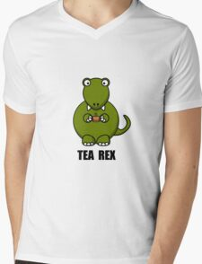 Tea Rex Dinosaur Mens V-Neck T-Shirt