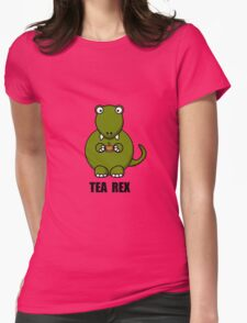Tea Rex Dinosaur Womens Fitted T-Shirt