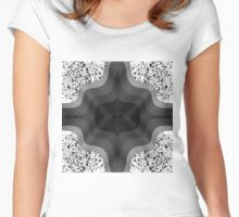Black and White Contemporary Geo Abstract Art Women's Fitted Scoop T-Shirt