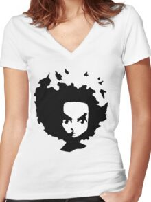 Huey B&W Women's Fitted V-Neck T-Shirt