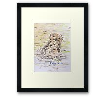 Otter and Baby Framed Print