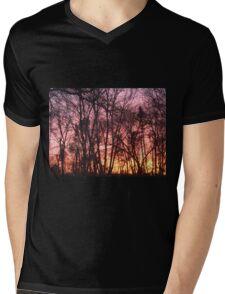Pink Sunset in Trees Mens V-Neck T-Shirt
