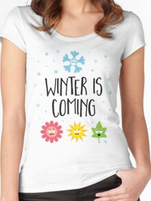Winter is Coming - Seasons (stacked) Women's Fitted Scoop T-Shirt