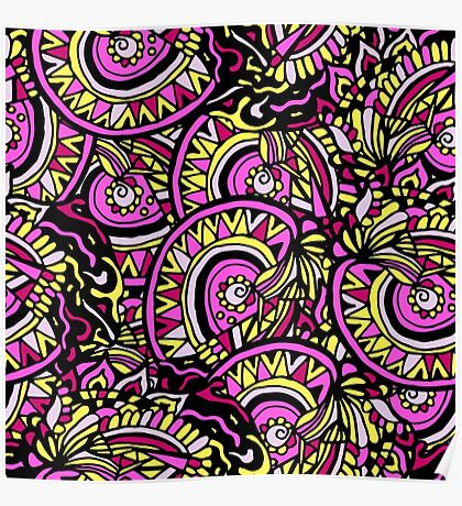 Abstract hand drawn colorful seamless pattern Poster