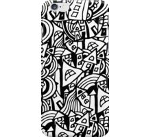 Black and white seamless pattern town houses with doodles.  iPhone Case/Skin