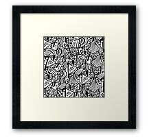 Black and white seamless pattern town houses with doodles.  Framed Print
