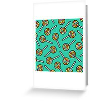 Rainbow Lollipop Pattern Greeting Card
